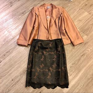 Rose Leather Skirt & Blazer Set